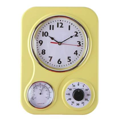 yellow retro kitchen clock