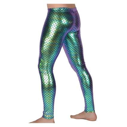 Metallic mermaid leggings for men