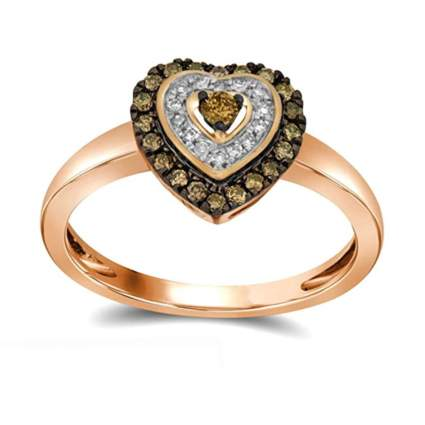 rose gold heart ring with chocolate and white diamonds