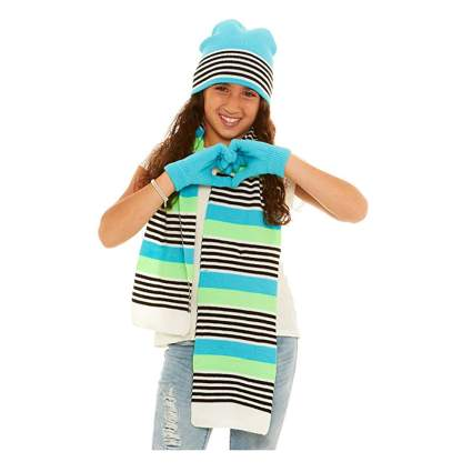 kids knitted hat glove and scarf set
