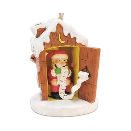 Santa In The Outhouse Checking His List Ornament