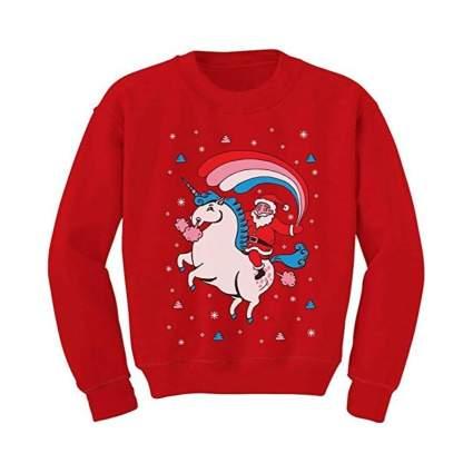 Santa Riding Unicorn Rainbow Sweatshirt
