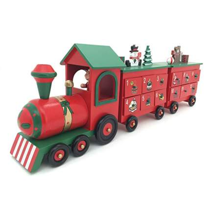 red santa train wooden advent calendar