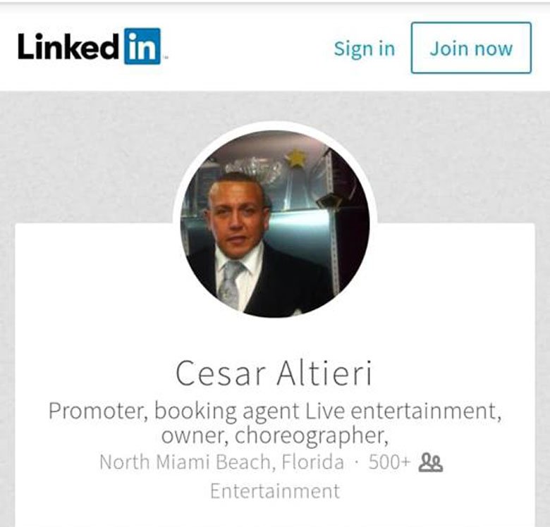Cesar Altieri LinkedIn page