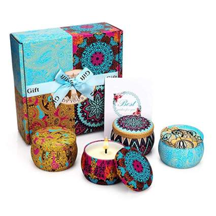 scented travel candles in tins