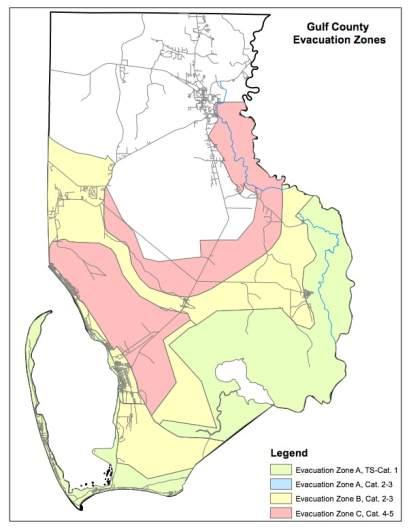 Gulf County Evacuation Zones Map