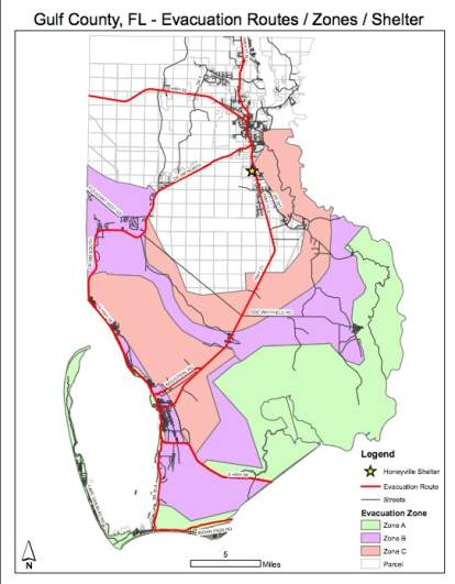 Gulf County Evacuation Routes Map