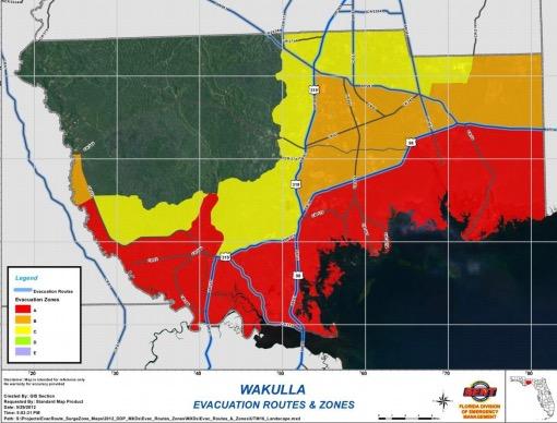Wakulla County Evacuation Zone Map