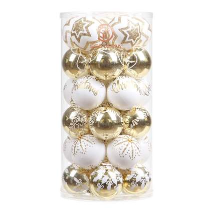 gold and white glass ornaments