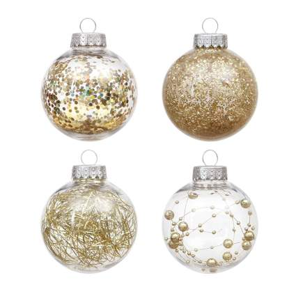 Ornaments filled with gold sparkle tinsel