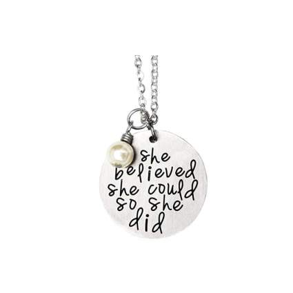 she believed she could so she did necklace christmas gift for tween girls