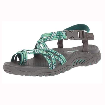 mint green flowered hiking sandals