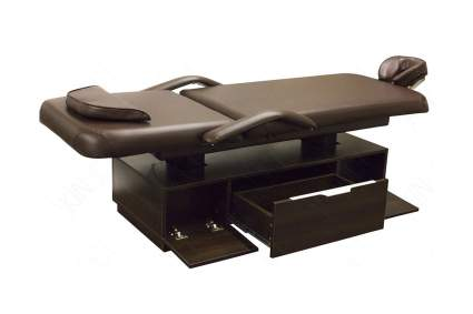 Dark colored treatment table with drawers