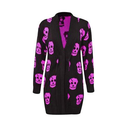 purple and black skull print long ladies cardigan