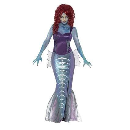 Woman in cosume of zombie mermaid