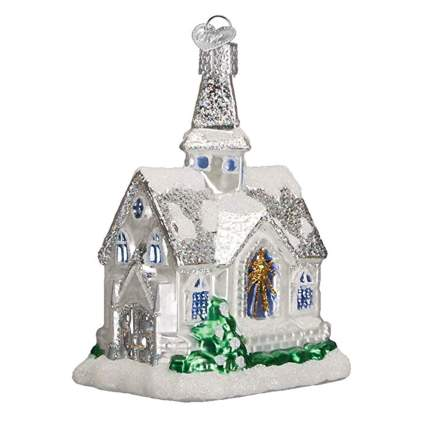 snow covered cathedral glass ornament