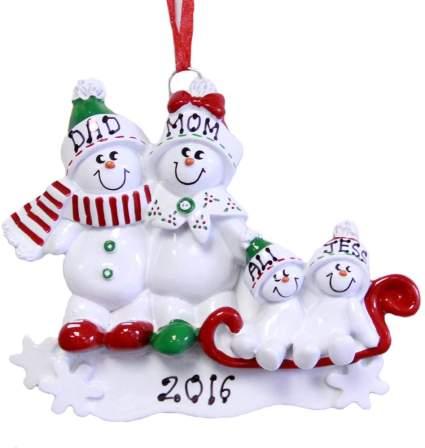 snowman family customized christmas ornament