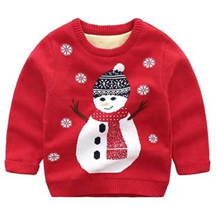 Wellwits Kids Christmas Snowman Print Fur Lining Sweater