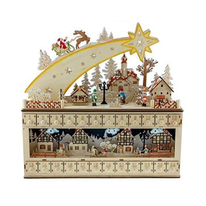 snowy village shooting star advent calendar