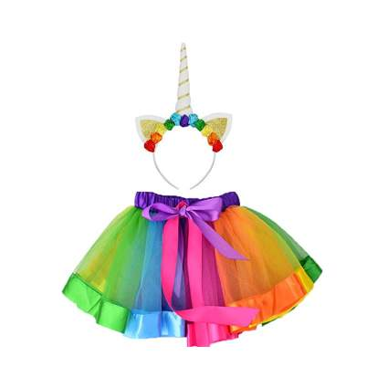 Rainbow tutu skirt and unicorn headband