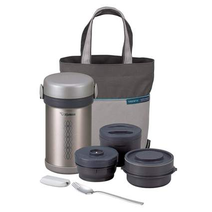 stainless steel bento jar with handled carrier