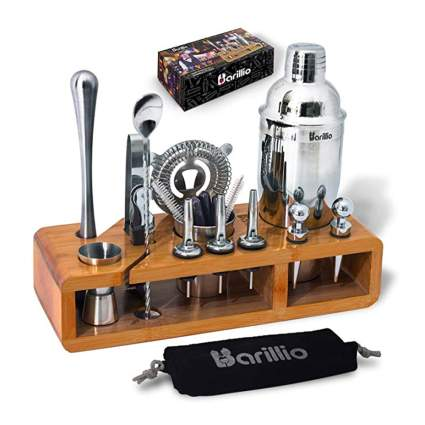 stainless steel bar set with bamboo stand