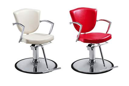 White and red stylist chairs
