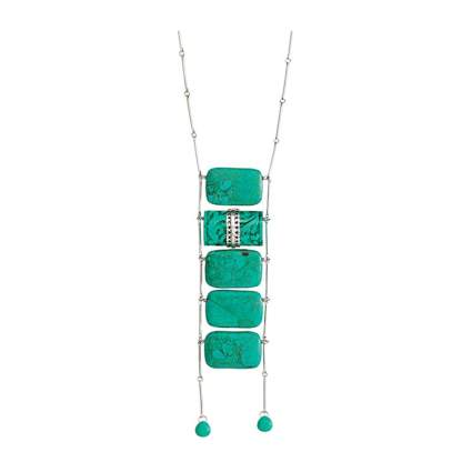 sterling silver and howlite tiered drop necklace
