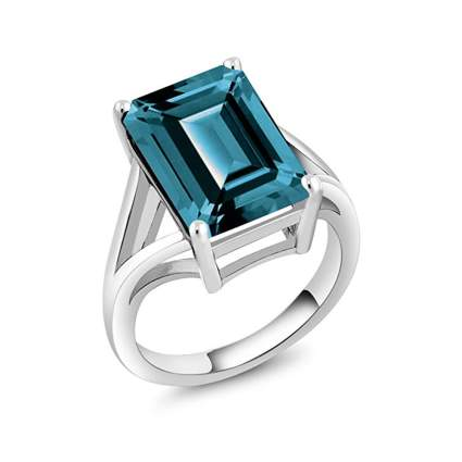 sterling silver london blue topaz birthstone ring