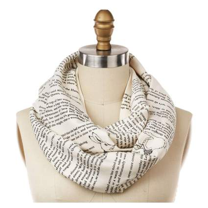 White infinity scarf with text
