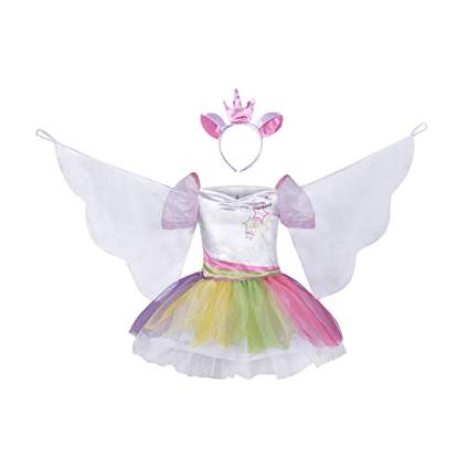 unicorn tutu dress with cape wings and headband