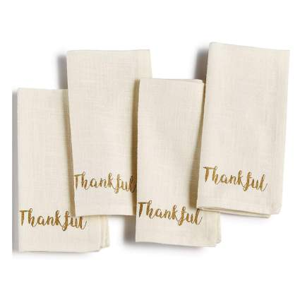 thankful linen dinner napkins