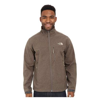 brown windproof shell jacket