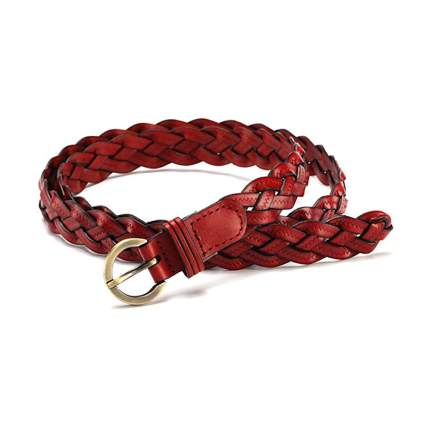 red thin braided faux leather belt