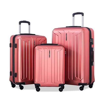 red hardside spinner luggage set