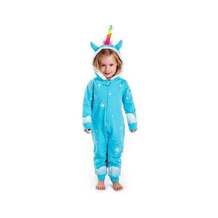 blue fleece toddlers unicorn costume