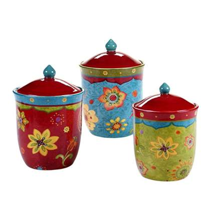brightly colored ceramic canister set