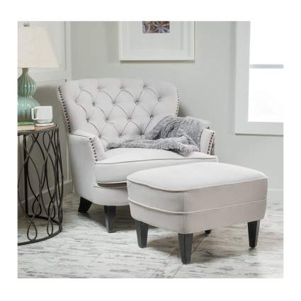 tufted fabric reading chair and ottoman
