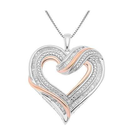 silver and rose gold diamond heart necklace