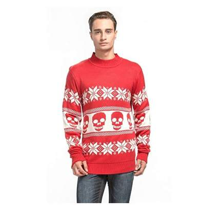 skull and snowflake ugly red sweater