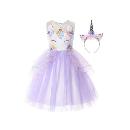 long tulle lilac unicorn party dress
