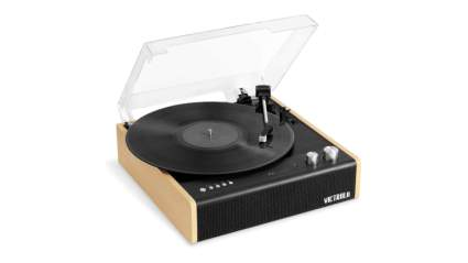 victrola record player with speakers