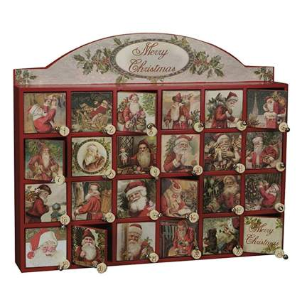 vintage santa wooden advent calendar