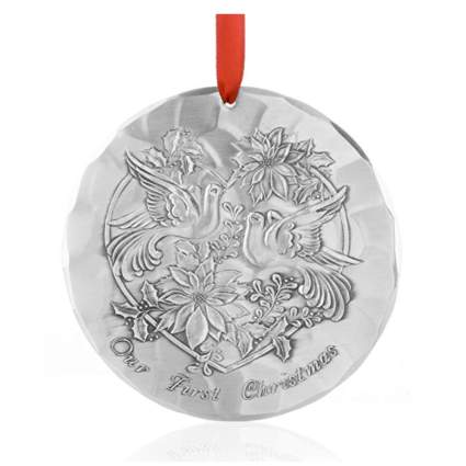 hand hammered aluminum first Christmas ornament