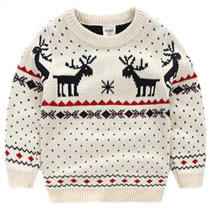 Amao Children's Fireplace Sweater Pullover for Christmas