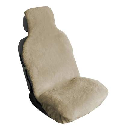 white sheepskin seat cover