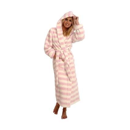 women's print hooded fleece robe