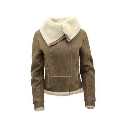 brown merino sheepskin aviator jacket