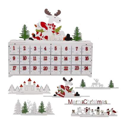 woooden advent calendar with interchangeable tops