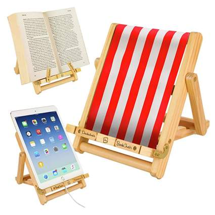 wooden book and tablet stand